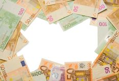 Business financial frame border. Business financial money frame of euro notes currency frame or border Stock Photo