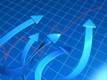 Business and financial growth concept. Arrows pointing up to a raising graph 3d illustration Stock Image