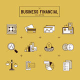 Business Financial Icon Set. A collection of gold financial icons including market tools, bar charts and currency exchange. Vector illustration Stock Image