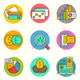 Business Financial Icon Set. Business and Investment Vector.  A collection of business and financial themed line icons including charts, financial elements and Royalty Free Stock Photography