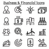 Business & financial icon set in thin line style. Vector illustration Stock Images