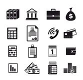 Business financial iconn. Business financial black icons on white background Stock Photos