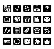 Business and financial icons. Set of graphical business and financial icons Stock Photography