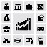 Business financial icons. Vector black business financial icons set on gray Stock Images