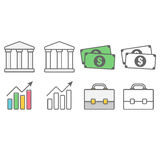 Business and financial icons pack. 4 icons consist of bank, money, graph and briefcase Royalty Free Stock Photo