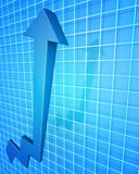 Business Financial Improvement Chart Concept. Arrow pointing up with graph background 3d illustration Stock Image