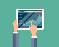 Business financial investment and money graph report on device Royalty Free Stock Photography
