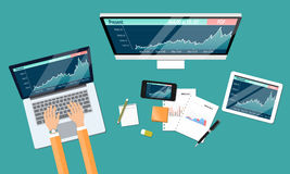 Business financial investment and money graph report Royalty Free Stock Photos