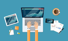 Business financial investment and money graph report workspace Stock Photography