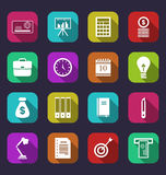 Business and financial items, colorful flat icons with long shad Stock Photo