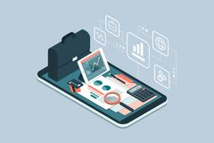 Business and financial management app. Business and finance management app for enterprises, business equipment and icons on a smartphone Stock Images
