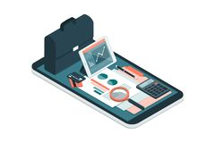 Business and financial management app. Business and finance management app for enterprises, business equipment and icons on a smartphone Stock Photography