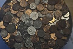 Random old US coins pennies dimes nickels royalty free stock photos