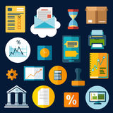 Business, financial and office flat icons. With computer, report, financial graphs, charts and smartphone, letter and delivery box, bank, rubber stamp and Stock Photos