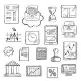 Business, financial and office sketched icons Royalty Free Stock Image