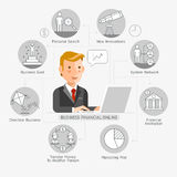 Business Financial Online Conceptual Flat Style. Vector Illustration. Can Be Used For Workflow Layout Template, Banner, Diagram, Number Options, Web Design Stock Photos