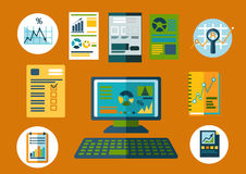 Business and financial planning flat icons. Business planning and financial reports flat icons with desktop computer, notebooks and papers with financial graphs Royalty Free Stock Photos