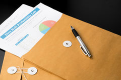 business and financial report  in envelope.pen,document is mock up. Stock Photos
