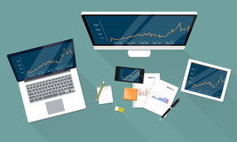 Business financial and report graph on electronic device Stock Image