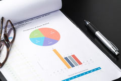 Business and financial report with pen.Document is mockup. Stock Photo