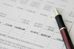 Business financial results - Calculating budget Stock Image