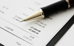 Business financial results - Calculating budget Royalty Free Stock Photo
