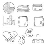 Business and financial sketched icons Stock Photo
