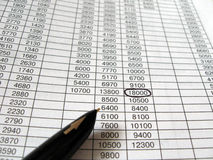 business financial spreadsheets, black ink pen Royalty Free Stock Photo