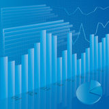 Business financial statistic. Illustration of business financial stats on blue background Stock Photos