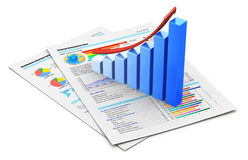 Business financial success concept. Corporate business office financial success concept: blue growing bar chart with red arrow on documents with color graph Stock Photography
