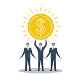 Business financial success. Income growth, fund rising, make money, business success, finance prize, rich person, vector illustration Royalty Free Stock Image