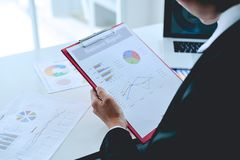 Business and Business Financial teamwork Working at the meeting stock image