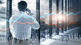Business Financial Trading Investment concept graph virtual screen double exposure. Business Financial Trading Investment concept graph virtual screen double stock photography