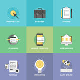 Business and financial web services flat icons. Flat icons set of mobile payments services, business planning organization, financial analytics process Stock Photography