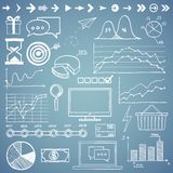 Business, finanse hand draw doodle elements graph Stock Photos