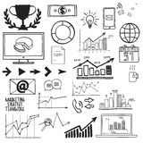 Business, finanse hand draw doodle elements graph Royalty Free Stock Images