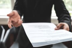 Business find new job, interview the job and hiring. Job applicant holding resume.Open handshake and resume job interview or acceptance Royalty Free Stock Photos