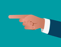 Business finger pointing on blue background. Concept business il. Lustration. Vector flat Royalty Free Stock Images