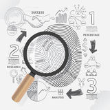 Business Fingerprint doodles line drawing success strategy plan. Idea with magnifier.Vector illustration.Focus Success Concept Royalty Free Stock Photo