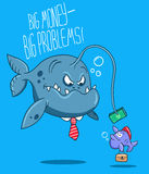 Business fishes. Toothy predatory fish boss in a tie, luring big money stupid little fish. Illustrated business metaphor. Fully editable vector Royalty Free Stock Photos