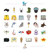 Business, fishing, hiking and other web icon in cartoon style.vacation, travel, game icons in set collection. Business, fishing, hiking and other  icon in Stock Photography