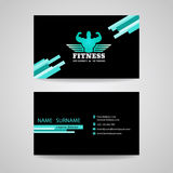 Business fitness gym card (wings and muscle blue mint -black tone) royalty free illustration