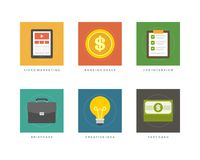 Business flat design icons vector illustration Royalty Free Stock Photography