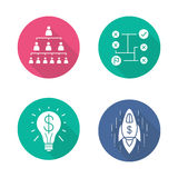 Business flat design long shadow icons set. Company hierarchy and problems solving. Commercial success idea and business goal achievement spaceship symbol Stock Photography