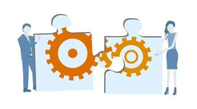 Business flat design teamwork vector with two colleagues completing a big jigsaw puzzle with cogwheels. Business flat design teamwork vector with two colleagues royalty free illustration