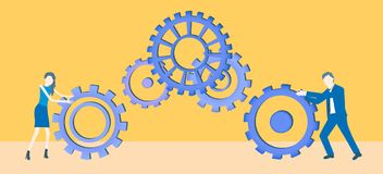 Business flat design teamwork vector with two colleagues rolling cogwheels. stock illustration