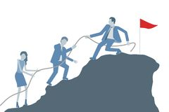 Business flat design vector with a leader helping colleagues to climb on top of a mountain. stock illustration