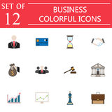 Business flat icon icon set, finance and managment. Symbols collection, marketing vector sketches, logo illustrations, colorful solid signs isolated on white Royalty Free Stock Photography