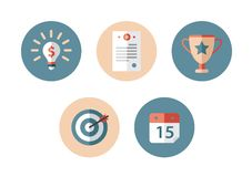 Business flat icon. Icons in the flat style for managers Stock Photography