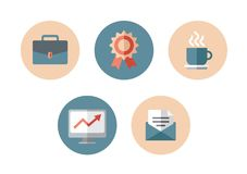 Business flat icon. Icons in the flat style for managers Royalty Free Stock Photography